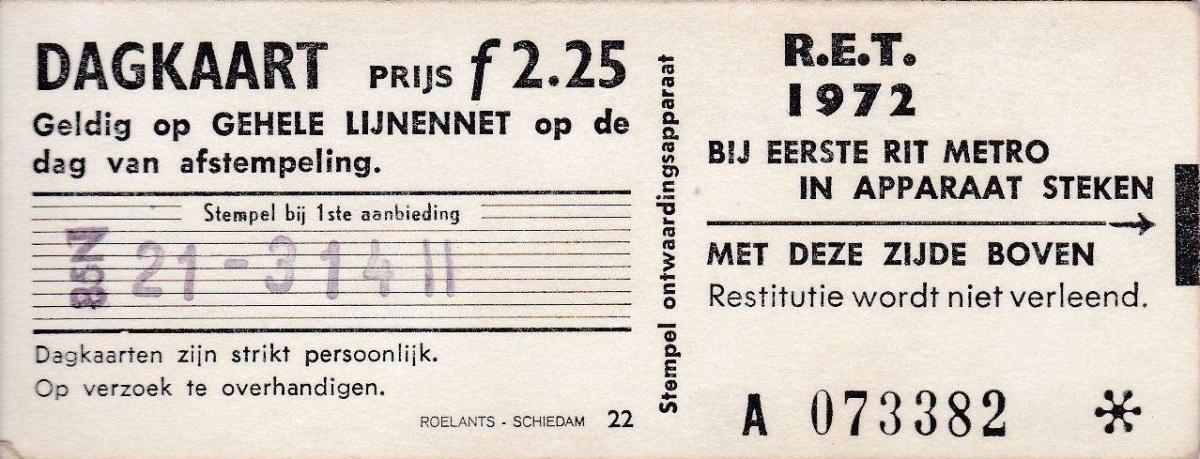 RET 1972 dagkaart gehele lijnennet 2,25 (22) -a