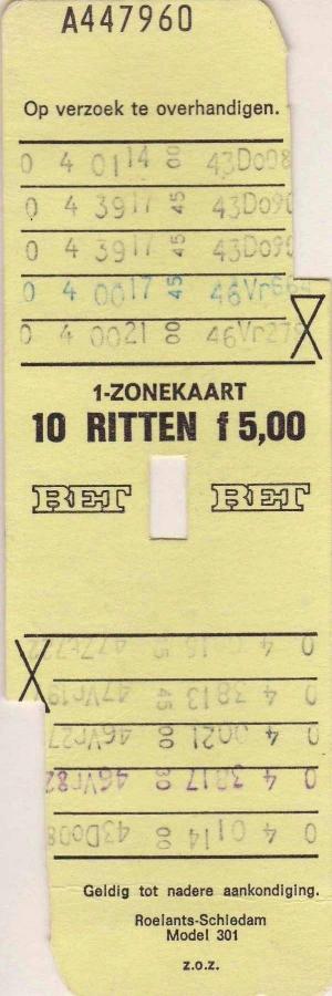 RET 1973 10 rittenkaart 1 zone 5,00 (301) -a