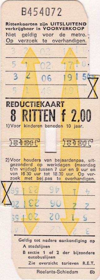 RET 1973 8 ritten reductiekaart 2,00 (6B) -a