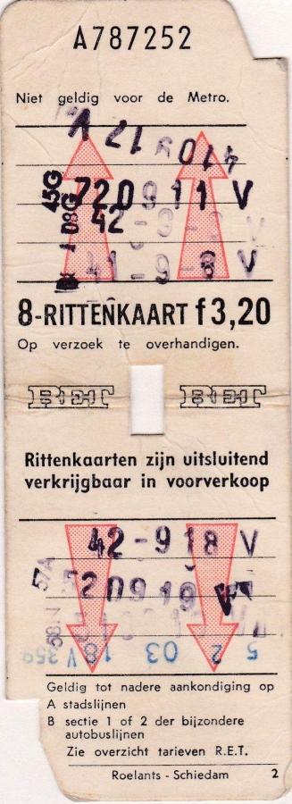 RET 1973 8 rittenkaart 3,20 (2) -a