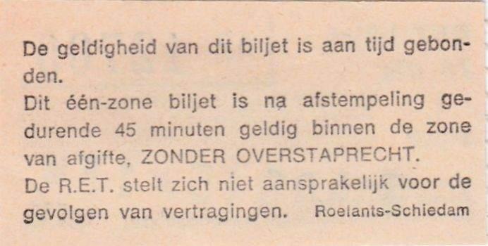 RET 1974 1 zone biljet achterzijde -a