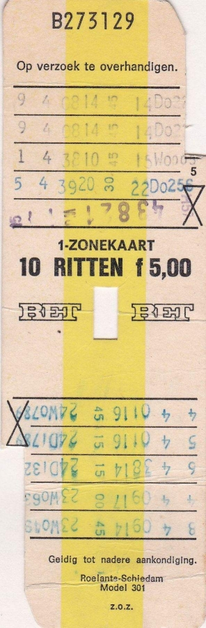 RET 1974 10 rittenkaart 1 zone 5,00 (301) -a
