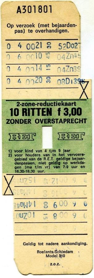 RET 1974 2-zone reductiekaart 10 ritten 3,00 (310) -a