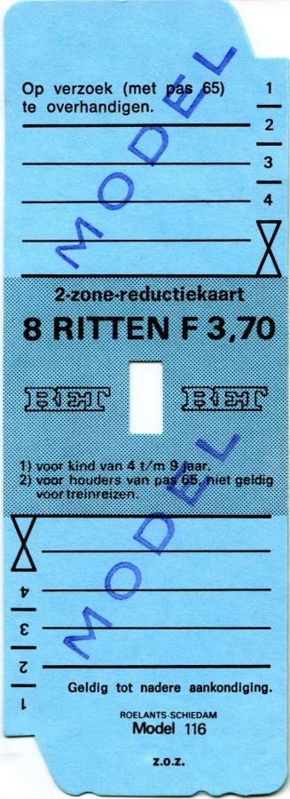 RET 1974 2-zone reductiekaart 8 ritten 3,70 (116) -a