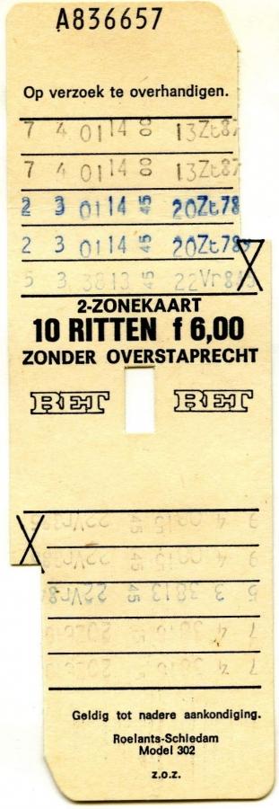 RET 1974 2-zonekaart 10-ritten 6,00 (302) -a