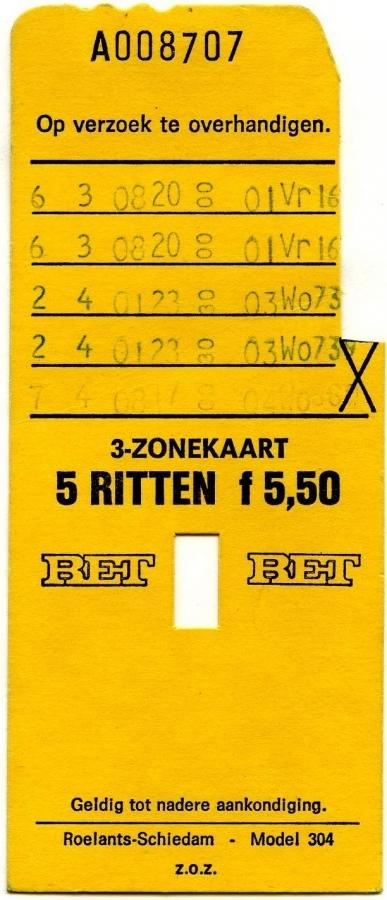 RET 1974 3-zonekaart 5-ritten 5,50 (304) -a