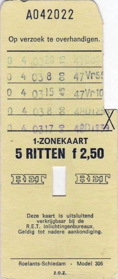 RET 1974 5 rittenkaart 1 zone 2,50 (306) -a