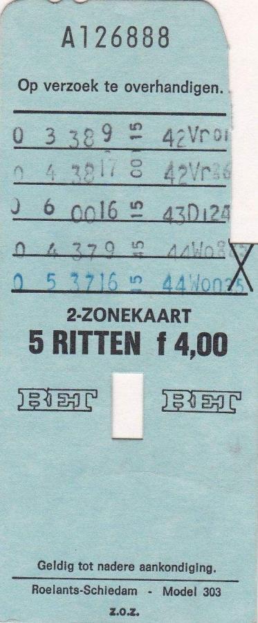 RET 1974 5 rittenkaart 2 zones 4,00 (303) -a
