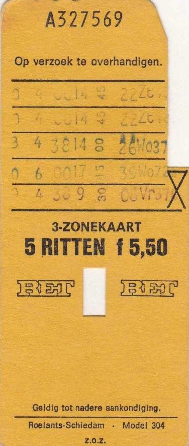 RET 1974 5 rittenkaart 3 zones 5,50 (304) -a