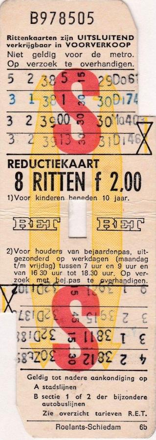 RET 1974 8 ritten reductiekaart 2,00 (6B) -a