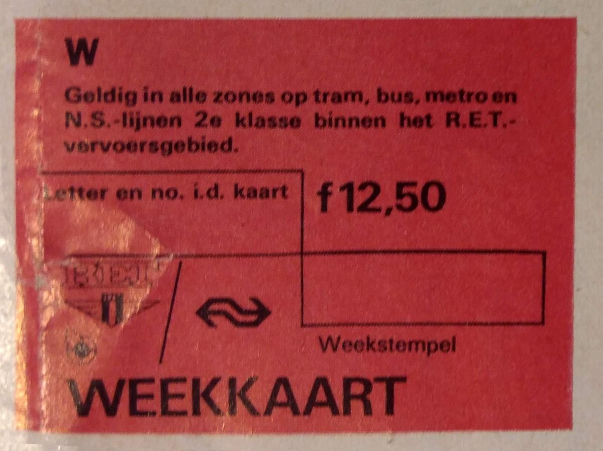 RET 1974 combi weekkaart NS-streek 12,50 -a