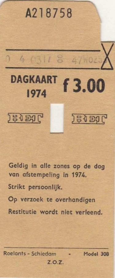 RET 1974 dagkaart alle zones 3,00 (308) -a