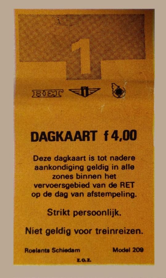RET 1974 dagkaart alle zones 4,00 voorverkoop -a