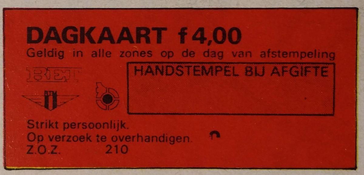 RET 1974 dagkaart alle zones handverkoop 4,00 -a