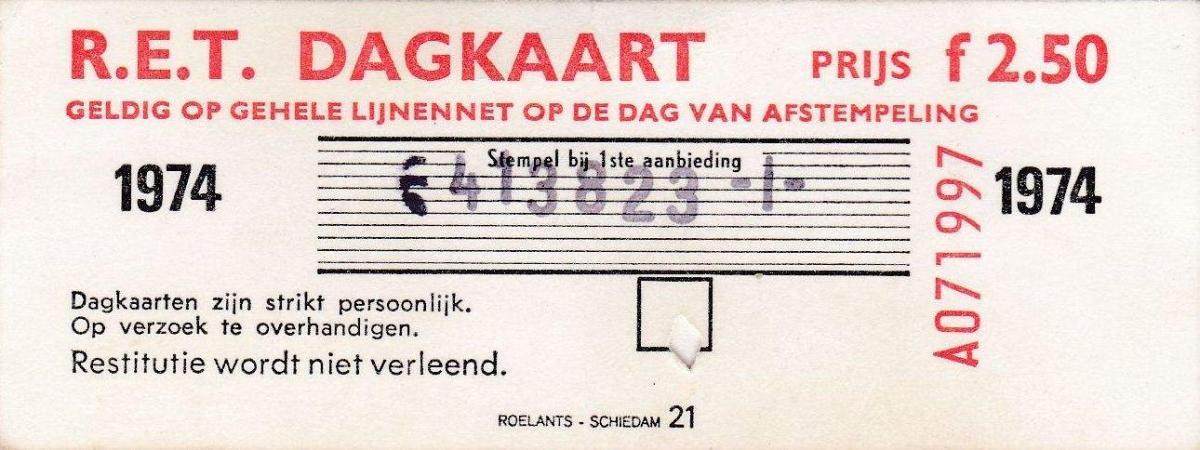 RET 1974 dagkaart gehele lijnennet 2,50 (21) -a