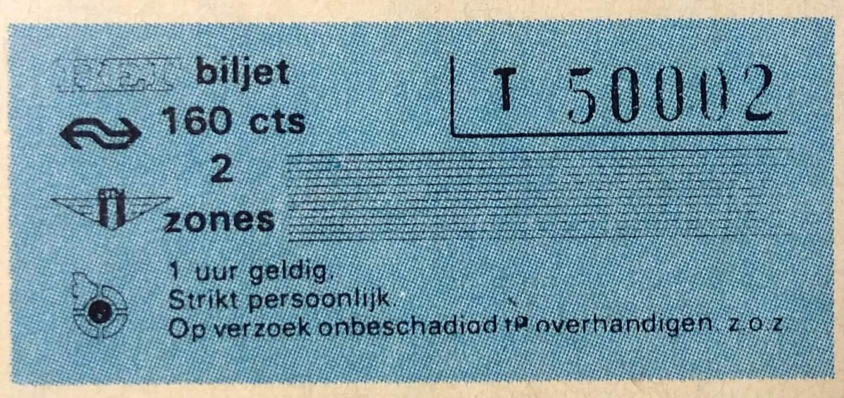 RET 1974 enkele reis 2 zones 160 cts -a