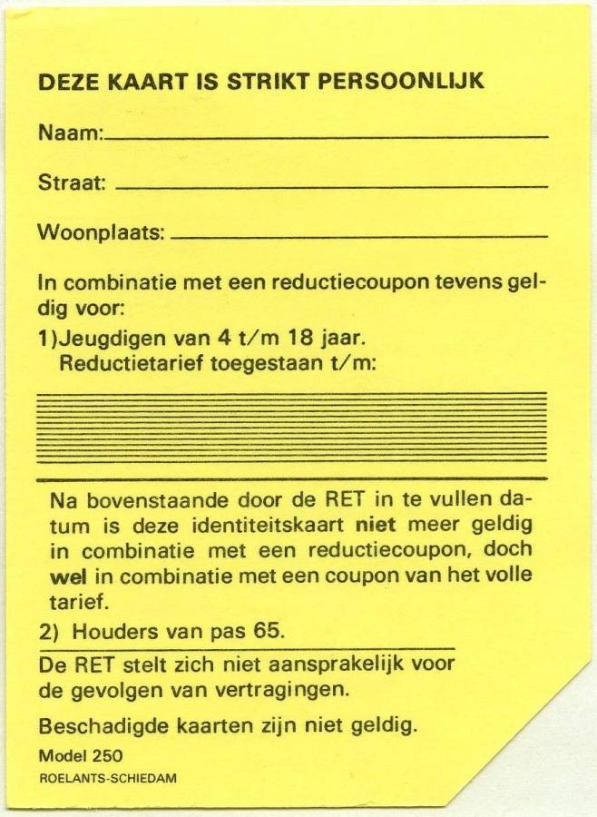 RET 1974 identiteitskaart (250) -a