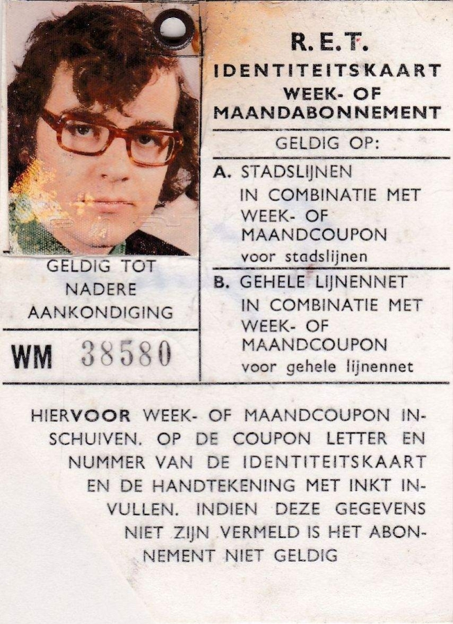 RET 1974 identiteitskaart stamkaart 2 (501) -a