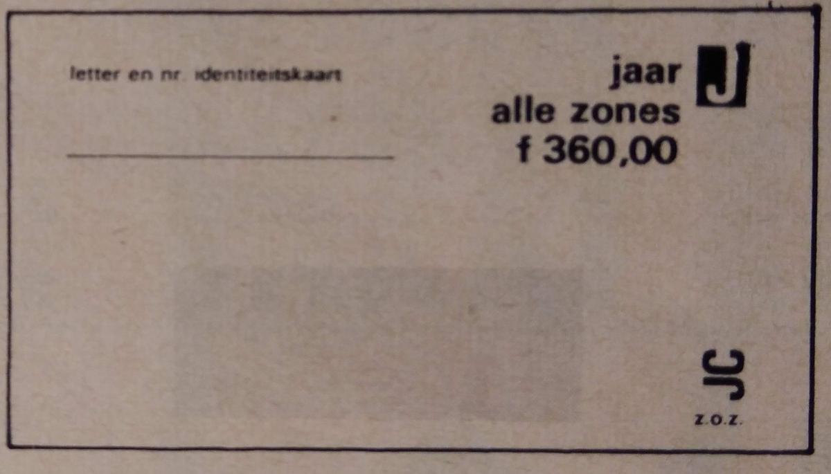 RET 1974 jaarkaart alle zones 360,- -a