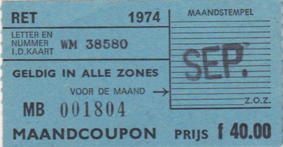 RET 1974 maandcoupon alle zones 40,00 -a