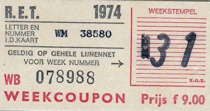 RET 1974 weekcoupon gehele lijnennet 9,00 (53) -a