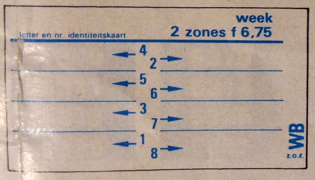 RET 1974 weekkaart 2 zones 6,75 -a