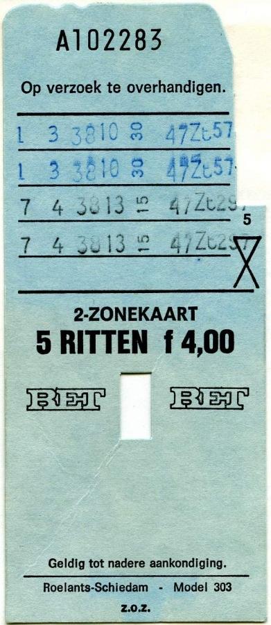 RET 1975 2-zonekaart 5-ritten 4,00 (303) -a