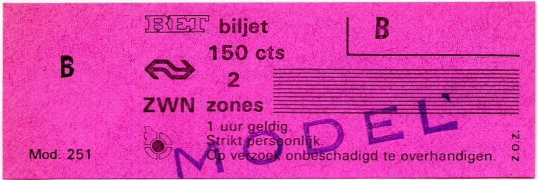 RET 1975 2 zones biljet 150 cts (251) -a