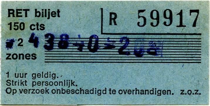 RET 1975 2-zones biljet 150 cts -a