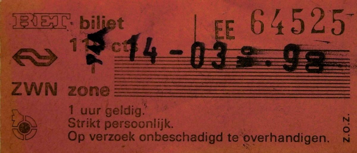RET 1975 biljet 1 zone 110 cts combi (150B) -a