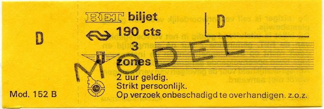 RET 1975 biljet 3 zones 190 cts (152B) -a