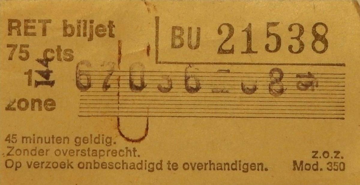 RET 1975 biljet 75 cts 1 zone (350) -a