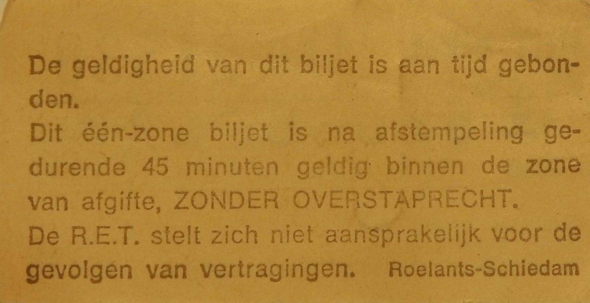 RET 1975 biljet 75 cts 1 zone achterzijde (350) -a