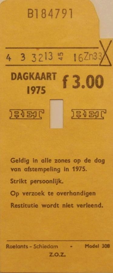 RET 1975 dagkaart alle zones 3,00 (308) -a
