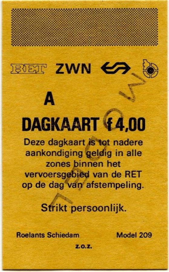 RET 1975 dagkaart vervoersgebied RET 4,00 (209) -a