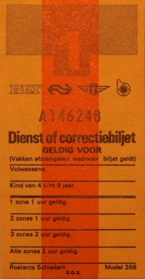 RET 1975 dienst of correctiebiljet (266) -a