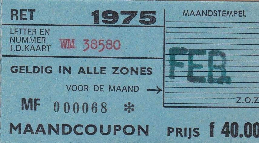 RET 1975 maandcoupon alle zones 40,00 -a