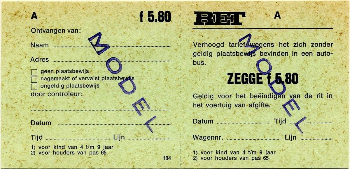 RET 1975 plaatsbewijs verhoogd tarief 5,80 (184) -a