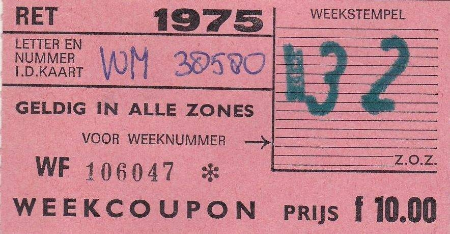 RET 1975 weekcoupon alle zones 10,00 (31) -a