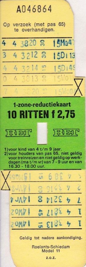 RET 1976 10 rittenkaart 1 zone reductie 2,75 (11) -a
