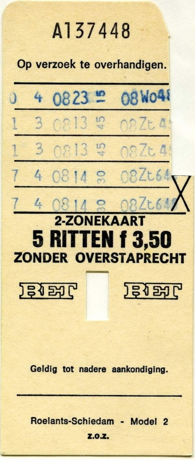 RET 1976 2-zonekaart 5-ritten 3,50 (2) -a