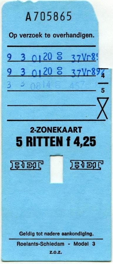 RET 1976 2-zonekaart 5-ritten 4,25 (3) -a