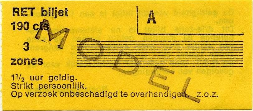 RET 1976 3-zone biljet 190 cts -a