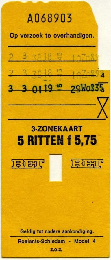 RET 1976 3-zonekaart 5-ritten 5,75 (4) -a