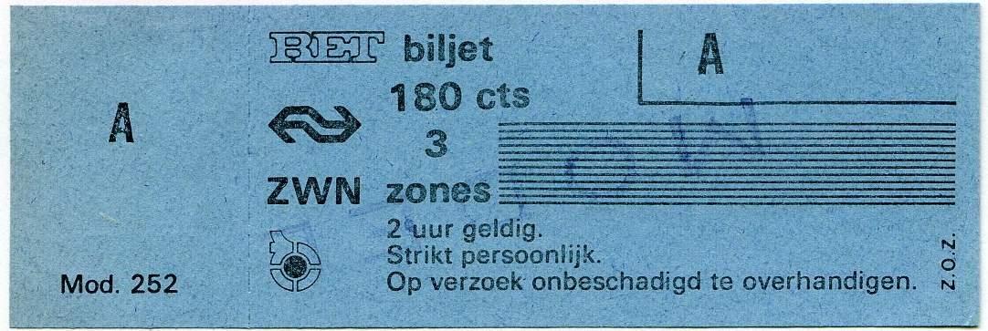 RET 1976 3 zones biljet 180 cts (252) -a