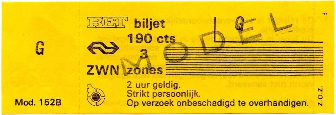 RET 1976 3 zones biljet 190 cts (152B) -a