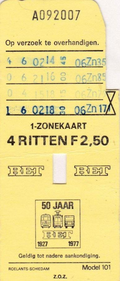 RET 1976 4 rittenkaart 1 zone 2,50 (101) -a