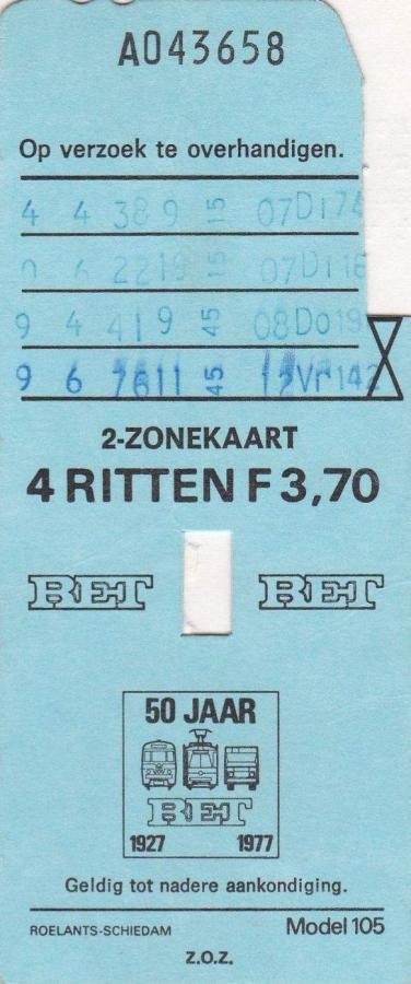 RET 1976 4 rittenkaart 2 zones 3,70 (105) -a