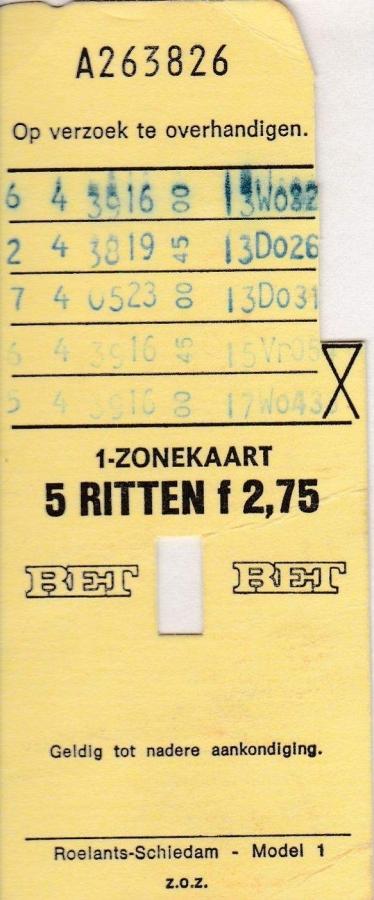 RET 1976 5 rittenkaart 1 zone 2,75 (1) -a