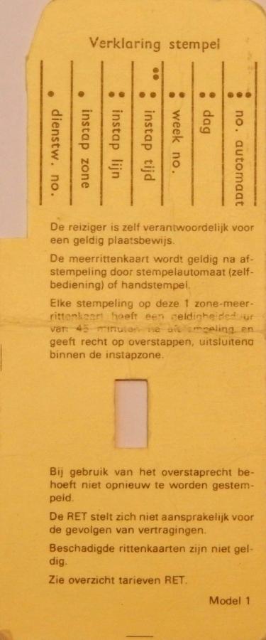 RET 1976 5 rittenkaart 1 zone 2,75 achterzijde (1) -a